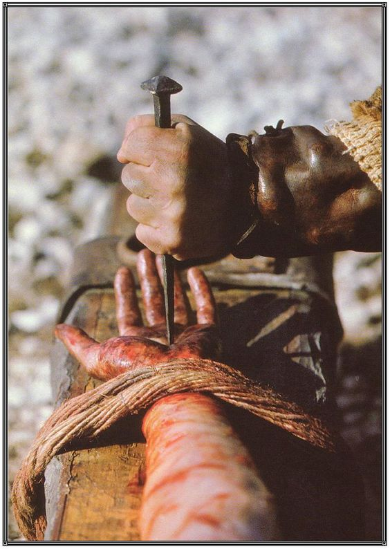 Then did they stretch and dislocate his shoulder to nail His most holy hands to the cross!: