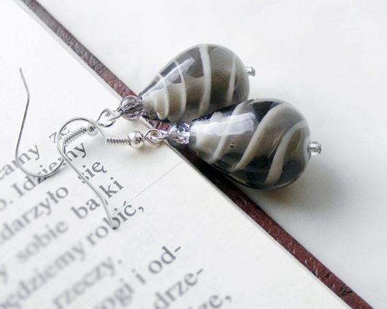 Elegant gray earrings made of venetian glass, $18.90