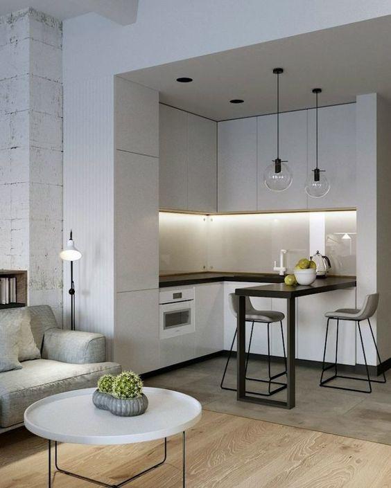 Современный минимализм в интерьере кухни-гостиной