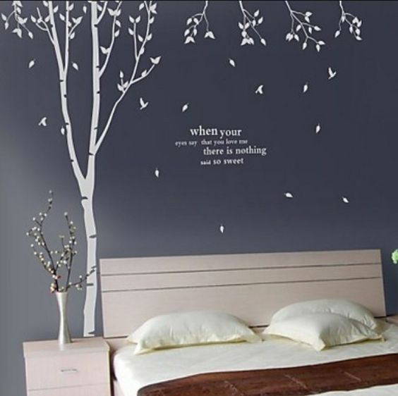 Dark night wall tree