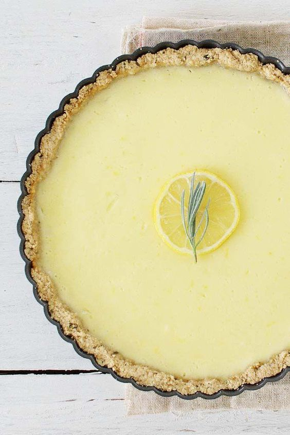 Lemon tart with rosemary crust