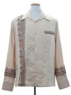 1970's Mens Hawaiian Inspired Print Disco Shirt