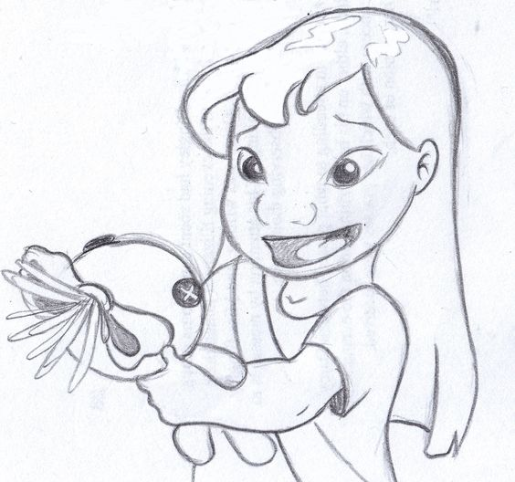 "disney sketch - ""This is Scrump."" lilo and stitch"