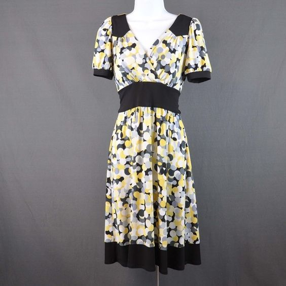 B.Moss Yellow Polka Dot V-Neck Dress