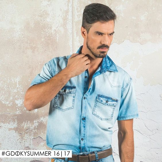 Camisa jeans Gdoky: Moderna e sofisticada! ;) #Aposte #Gdokymen #Newcollection
