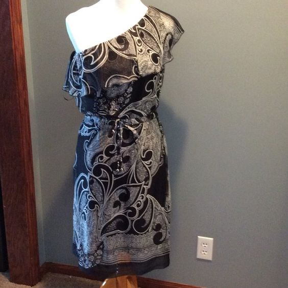"""NY&CO Dress New York & Company one shoulder dress. Drawstring waist with beads on strings. Comes right below my knee, I'm 5'4"""". Never worn, but no tags. Non smoking home. No trades. New York & Company Dresses One Shoulder"""