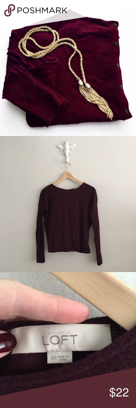 """LOFT Wine Button Back Lightweight Sweater Super cute button back detail on a wine colored sweater! Light weight and perfect layered under a jacket. Size XS. Absolutely excellent condition! No rips or stains! Chest measures approx. 21.5"""" from underarm to underarm. Length measures approx. 21"""". 56% cotton • 29% rayon • 15% nylon. Machine wash cold. •0913160200• LOFT Sweaters Crew & Scoop Necks"""