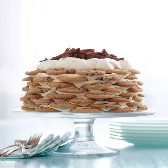 Celebration Chocolate Chip Cookie Icebox Cake by julievr, thefamilykitchen: Cookies sandwiched with mascarpone cream Stash it in the freezer until you need it. As it thaws, the cookies soften so you can slice it into wedges.