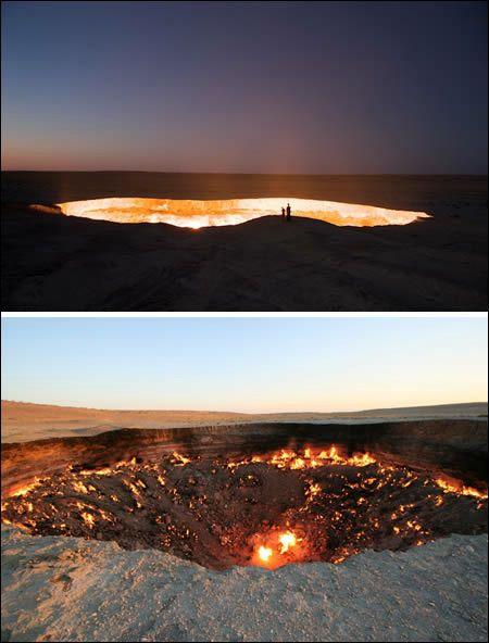トルクメニスタンがソ連の一部だった1970年代に、有望なガス田として期待されていましたが調査中の事故により爆発事故が発生。それ以来この直径60m、深さ20mの穴では天然ガスが燃え続けており、さながら地獄の入り口のようになっています。2010年4月に封鎖するよう大統領から命令がなされました。