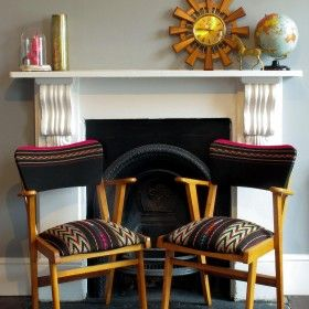 Titicaca Chair (pair available)- Hand Woven Bolivian Fabric