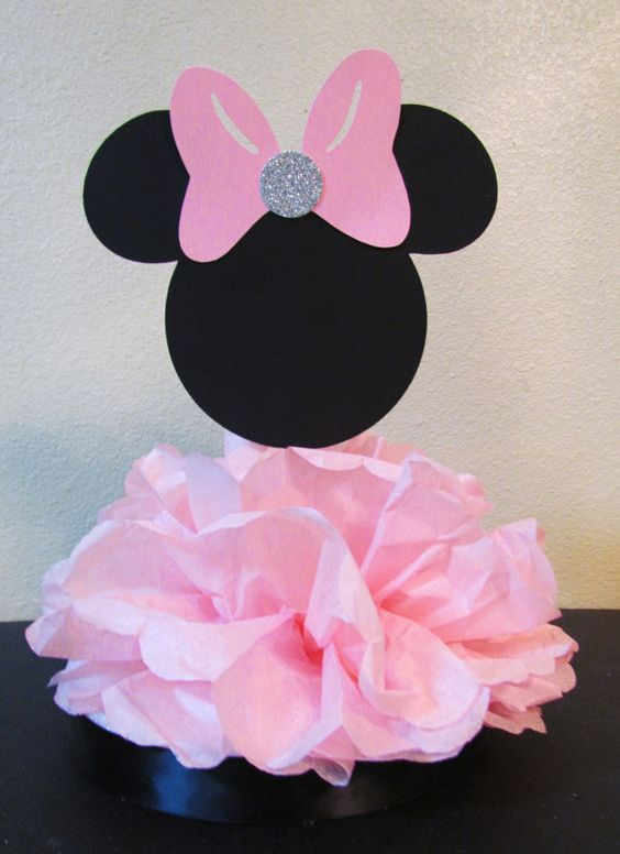 Minnie centerpiece birthday party or baby shower red pink