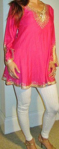 Fuschia Pink with Gold Tunic