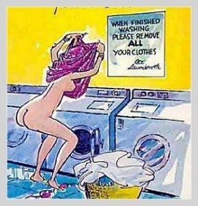 dumb blonde washing clothes cartoon joke image picture