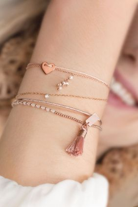 quasten armband rosa rose vergoldet kuegelchen rosenquarz: