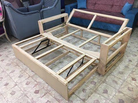 كنبة سرير موفرة للمساحة قبل التنجيد ومفاجأة فى آخر الفيديو وعروضنا مستمرة معانا فى العام الجديد Youtub Wooden Sofa Designs Sofa Bed Design Sofa Cumbed Design