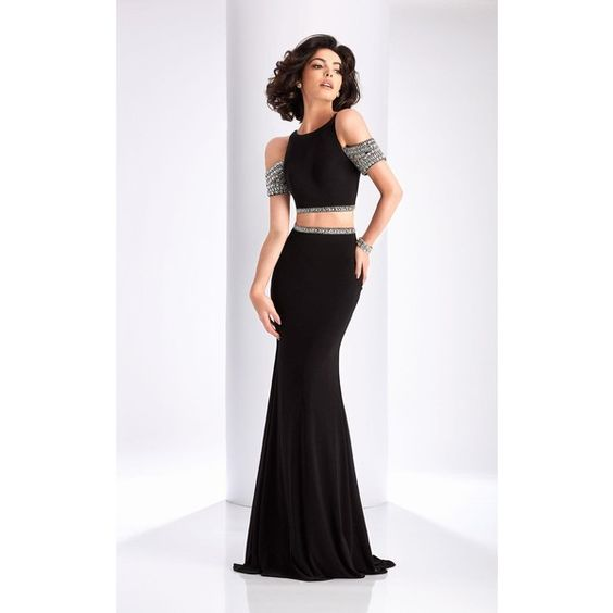 Clarisse 3109  Long High Neckline Short Sleeve ($330) ❤ liked on Polyvore featuring dresses, gowns, black, formal dresses, short sleeve tops, beaded top, glitter top, formal tops and high neck crop top