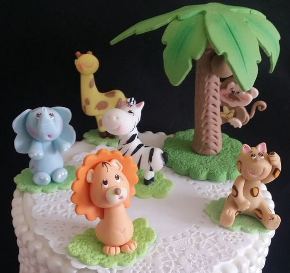 Cute baby animals jungle animals cake toppers jungle for Animal cake decoration