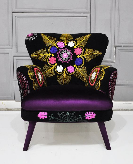 Patchwork armchair with Suzani and dark purple velvet fabrics. $1,500.00, via Etsy.