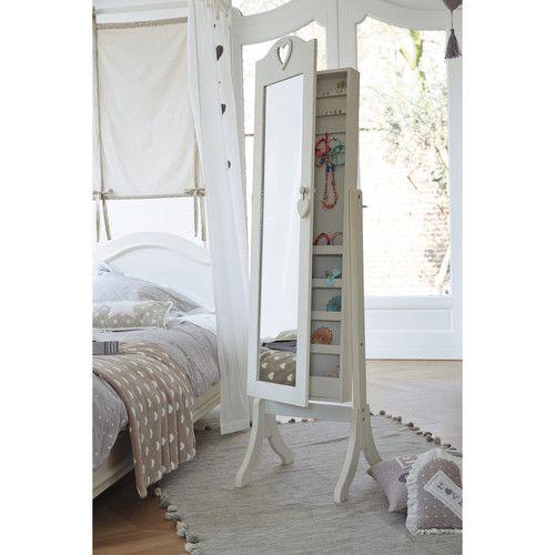 Miroir psyché avec rangement en bois blanc H 160 cm VALENTINE