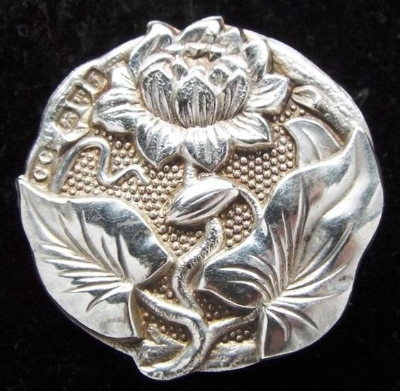 GORGEOUS  ANTIQUE  STERLING HALLMARKED ART NOUVEAU FLOWER BUTTON ~BLING