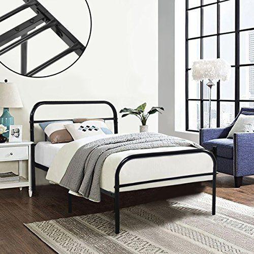 Greenforest Twin Bed Frame Metall Plattform Matratze Basis Schwarz Bett Vintage Kopfteil Box Feder Ers Twin Size