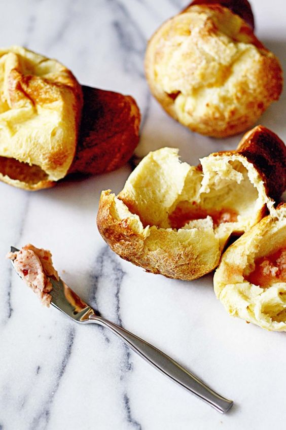 Neiman Marcus Popovers with Strawberry Butter / In Sock Monkey Slippers