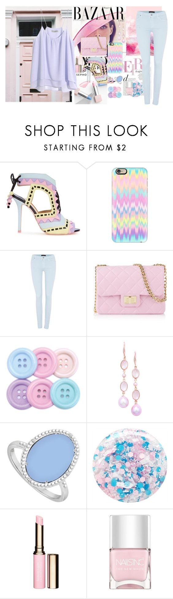 """""""Pastel perfection"""" by fantasticbabe ❤ liked on Polyvore featuring Bela, Sephora Collection, Sophia Webster, Casetify, 7 For All Mankind, H&M, Design Inverso, London Road, LoveBrightJewelry and Nails Inc."""