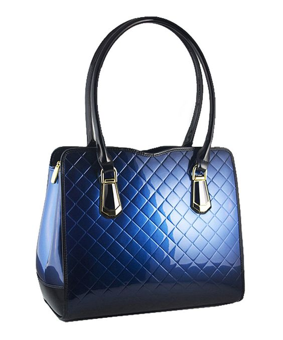 Look at this #zulilyfind! Bravo Handbags Blue Quilted Nadia Leather Satchel by Bravo Handbags #zulilyfinds