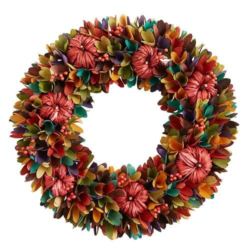 19 Multicolor Wood Curl Wreath
