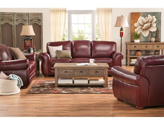 For A Sleek And Polished Look Gallery Burgundy Sofa