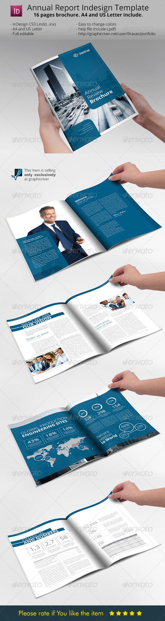 Annual report brochure indesign template design for Informational brochure templates