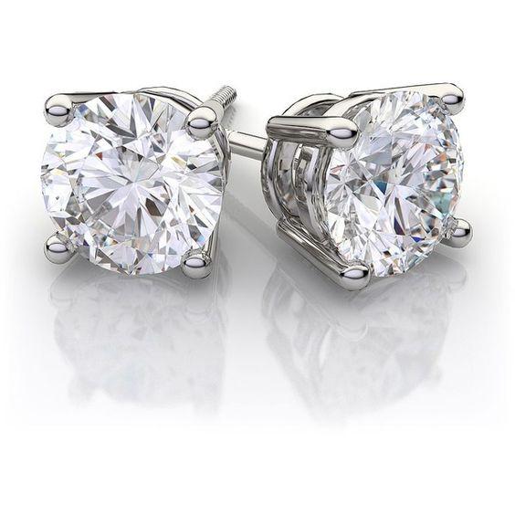 1 Carat Diamond Earrings - Mervis Diamonds (66 840 ZAR) ❤ liked on Polyvore featuring jewelry, earrings, ear rings, diamond jewelry, stud earrings, studded jewelry, diamond jewellery and diamond earrings