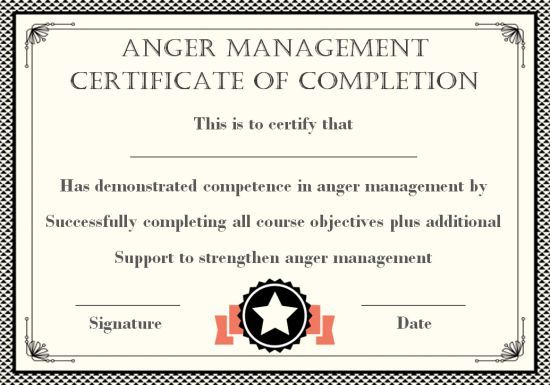 Anger Management Certificate 15 Templates With Editable Samples Template Sumo Anger Management Anger Certificate Of Completion Template