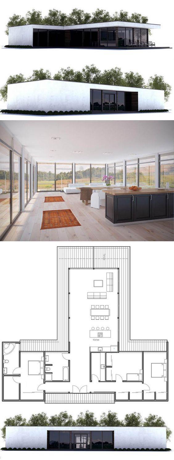 Casa moderna planta de casa casas modernas pinterest for Casa floor