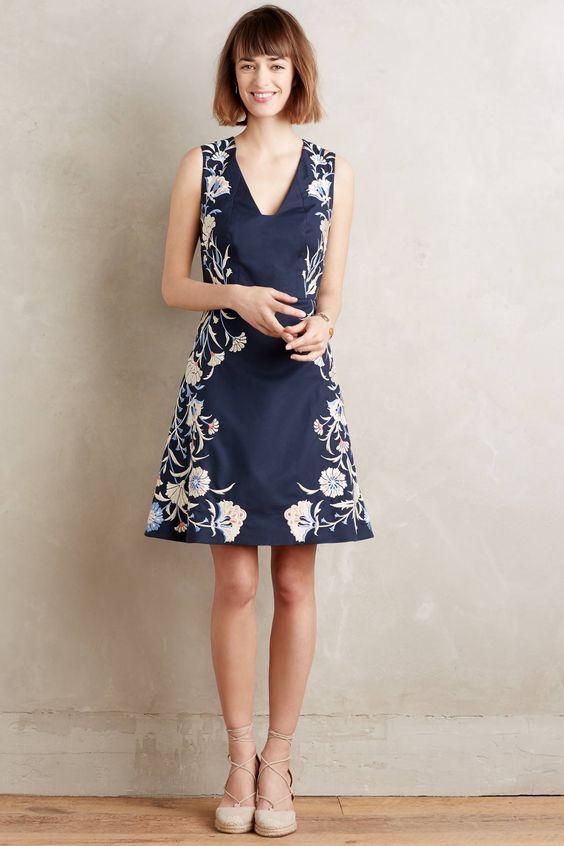 at anthropologie Embroidered Bellflower Dress - blue motif