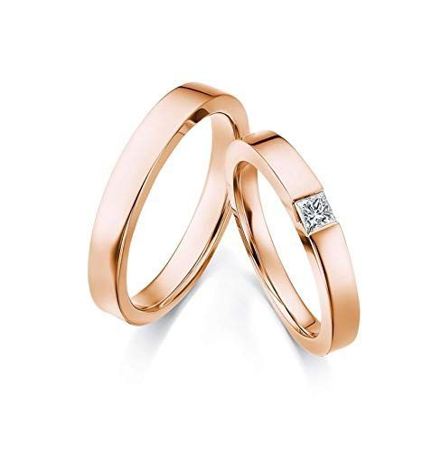 Aokarry 18k Rose Gold Wedding Bands For Men And Women 1 Pair Round With Square Diamond 18k Rose Gold Wedding Band Mens Wedding Bands Wedding Rings Engagement