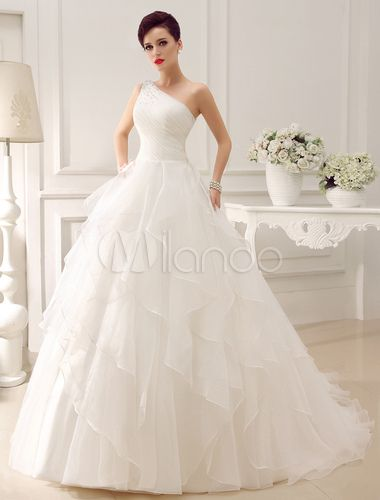 Chapel Train Ivory Bride's Wedding Dress With One-Shoulder Tiered - Milanoo.com