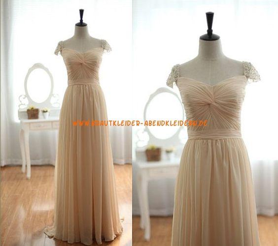 Bodenlang Elegante Brautkleider 2013 aus Chiffon mit Perlenstickerei