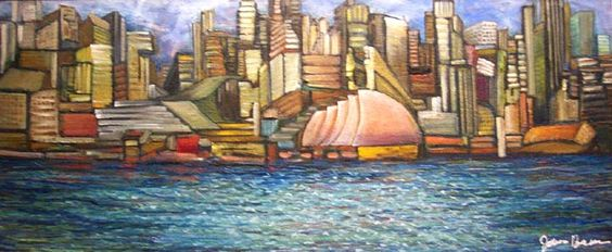 River City: abstract waterfront Oil Painting. Artist: James Homer Brown . New York style art from metro Detroit. James Homer Brown, member of the Detroit Art Scene paints colorful urban paintings for corporations, individuals and the movie industry.