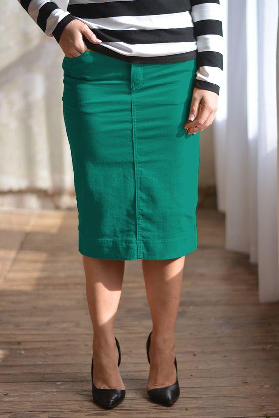 emerald colored denim skirt jade mackenzie modest