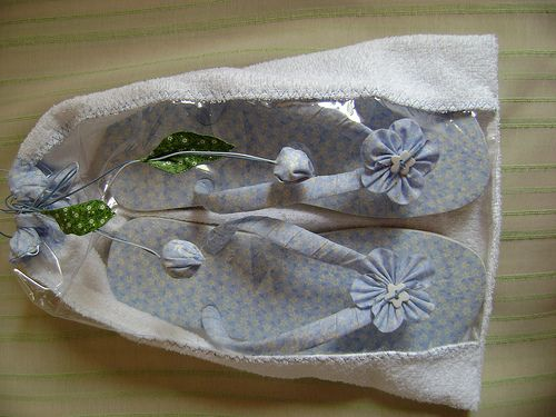 chinelo  forrado de tecido com sacola