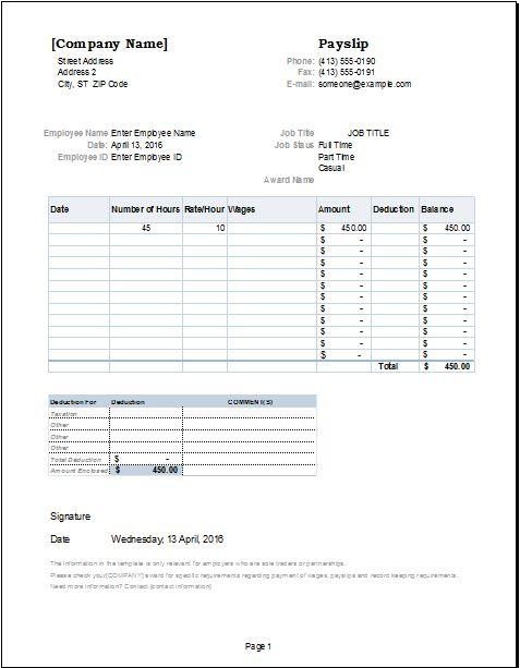 salary slip template DOWNLOAD atdoxhuborgsalaryslip – Salary Receipt Template