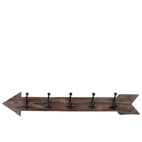 Urban Trends Colleciton Arrow Hanger with 5 Metal Black Hooks