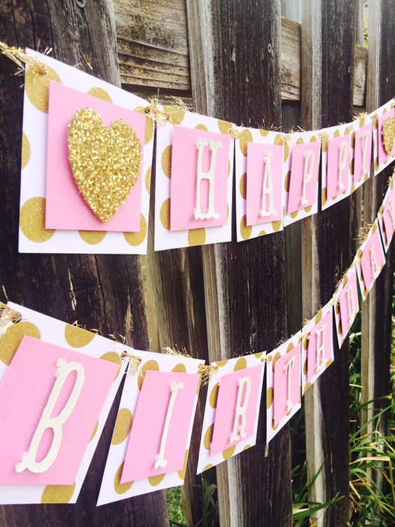 Pink and Gold Happy Birthday Banner Gold Polka by SparkletheMoment