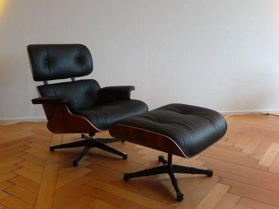 lounge chair mit ottoman original von vitra design. Black Bedroom Furniture Sets. Home Design Ideas