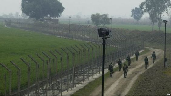 The India/Pakistan border is guarded heavily.