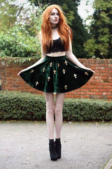 Ginger Hair Green Velvet Cross Skirt Boots Heels Platforms