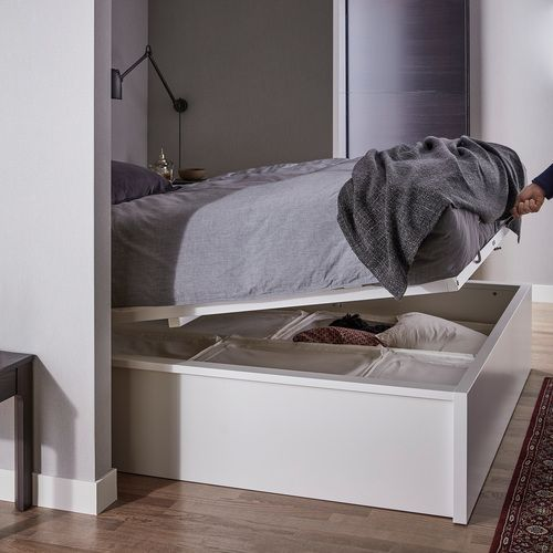 Ikea Malm Rum Med Hirslu 140x200 Cm Hvitt In 2020 With Images Storage Bed White Bedding Ottoman Bed