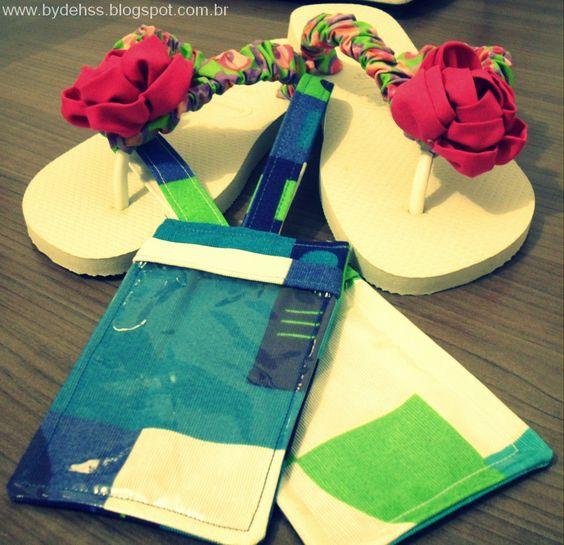 Chinelo customizado e Identificador de bagagem