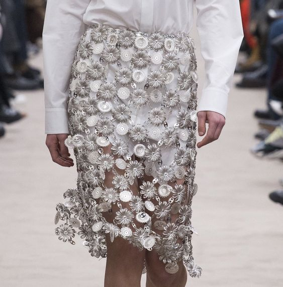 Textured skirts at Paco Rabanne fall 2018